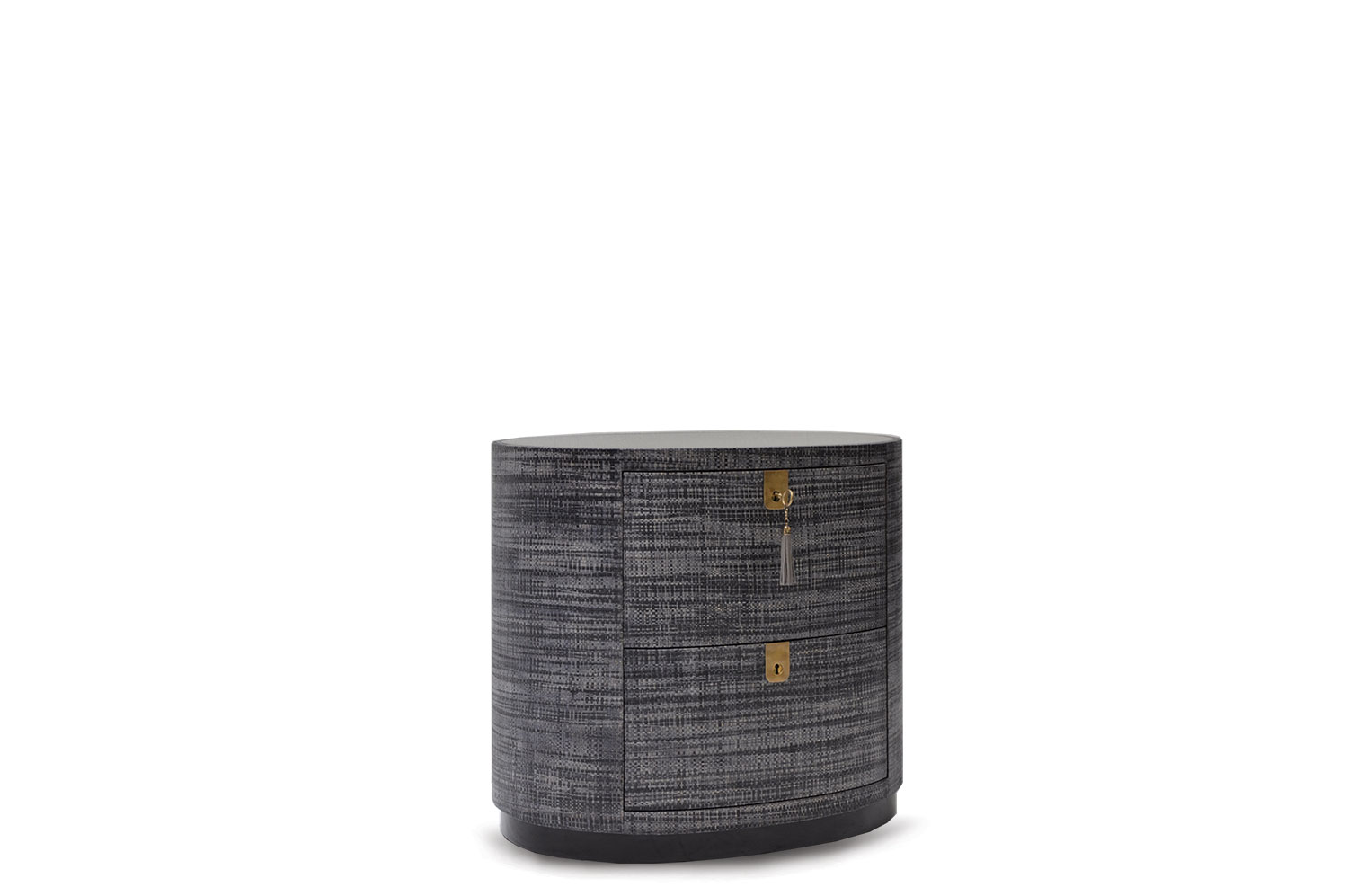 Oval Raffia Bedside Table 0