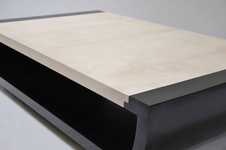 bateau coffee table - goatskin / lacquer | scala luxury