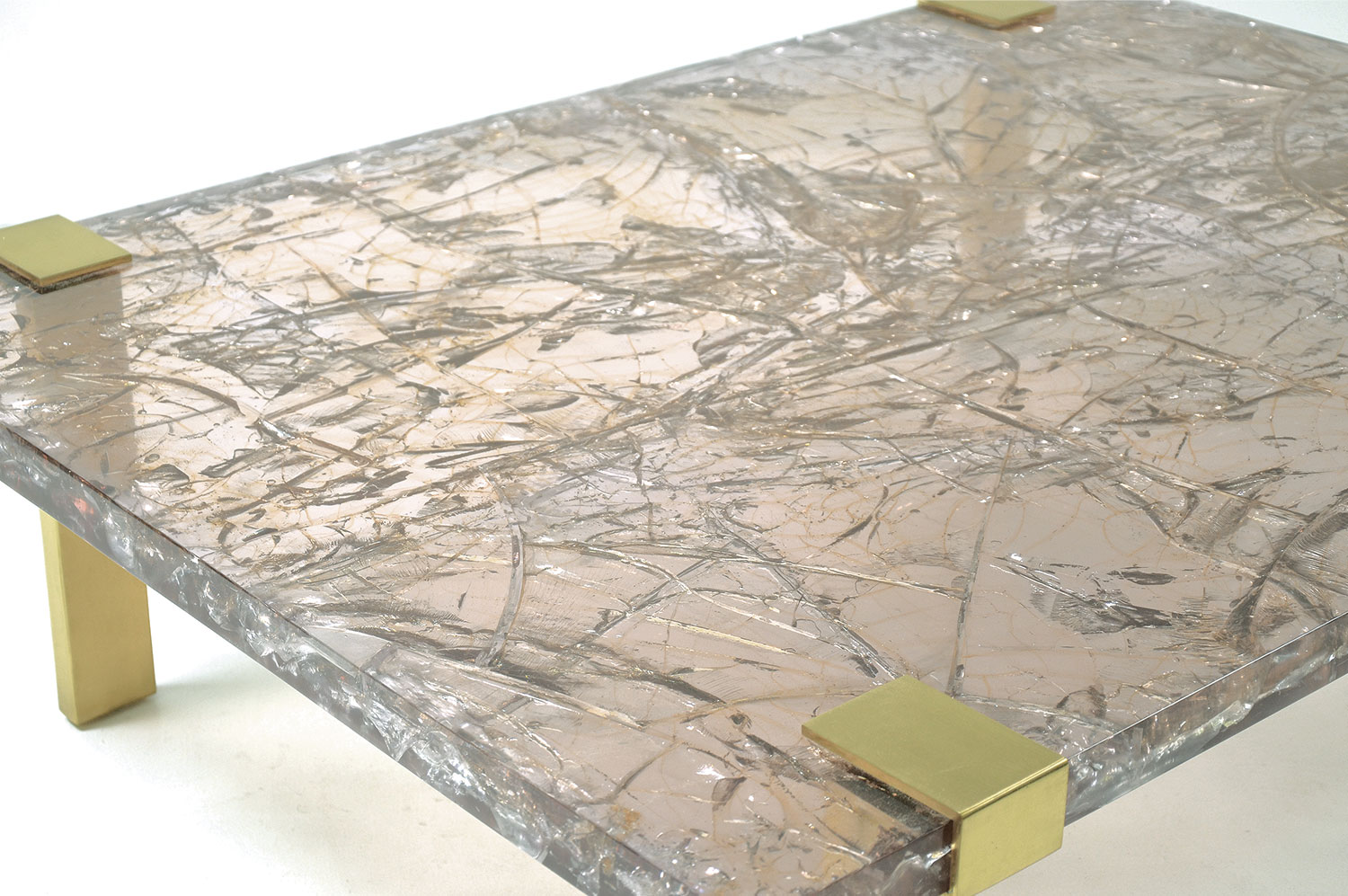 Reclaimed teak wood cracked resin side tables youtube - Clasp Coffee Table Ice Resin Lucite Scala Luxury