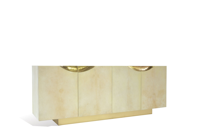Sideboard Beige coveted sideboard goatskin brass scala luxury