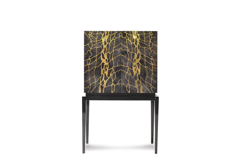 Zelo bar cabinet in parchment-goatskin   Scala Luxury