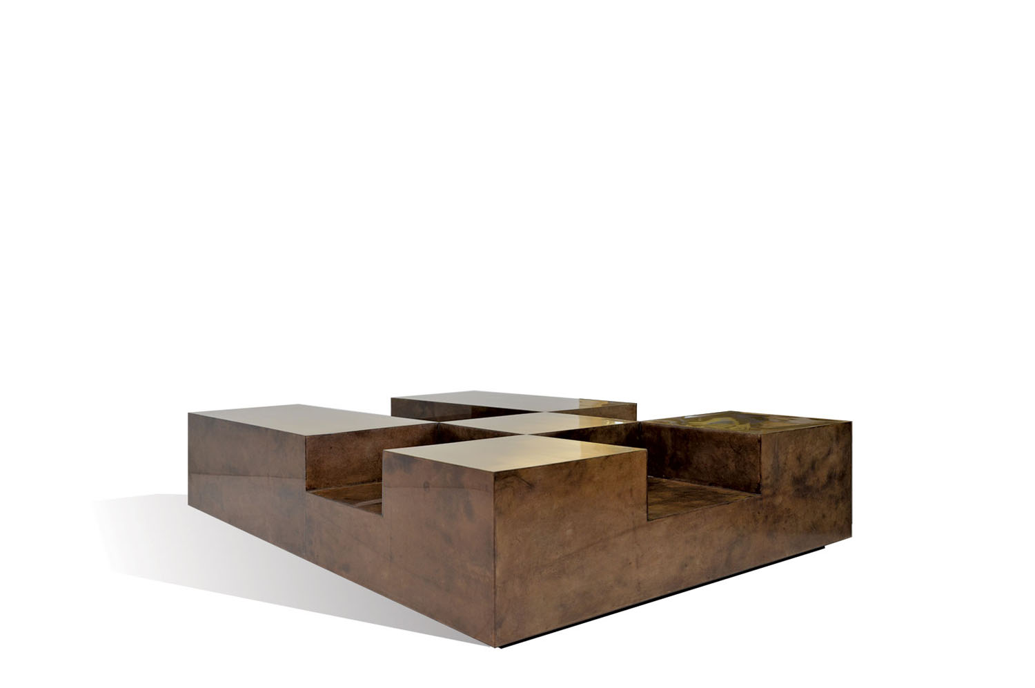Plateau coffee table goatskin brass scala luxury for Plateau table