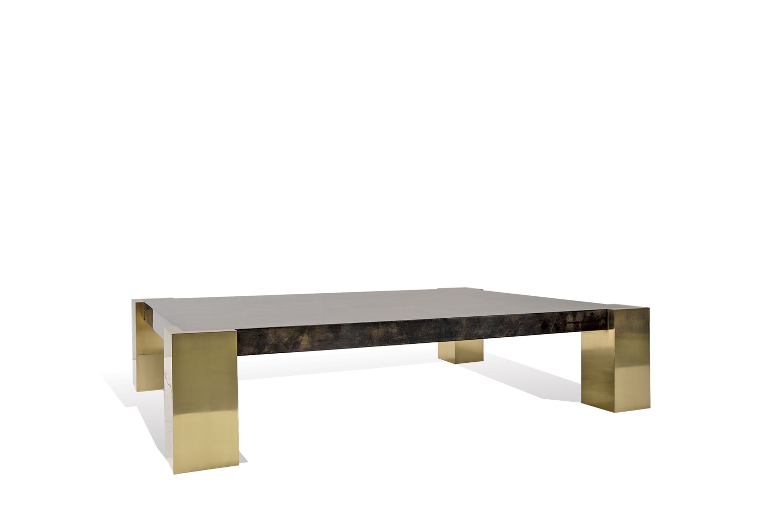 Cube Coffee Table   Goatskin / Brass 0 ...