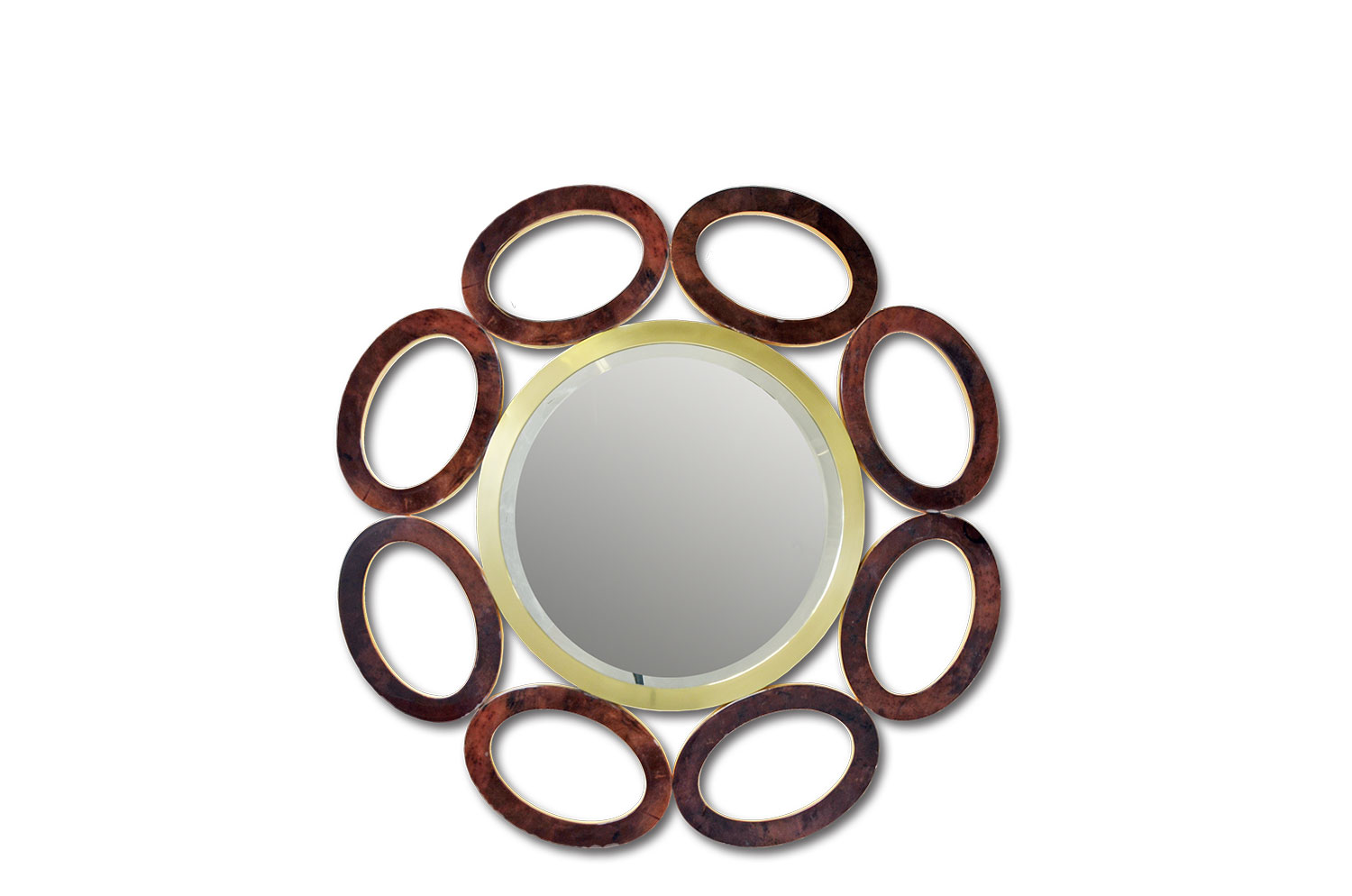 Elliptical Mirror - Goatskin / Gold Leaf 0