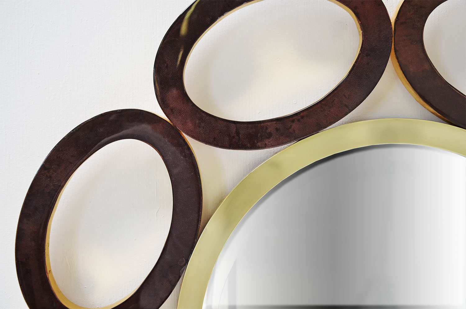 Elliptical Mirror - Goatskin / Gold Leaf 3