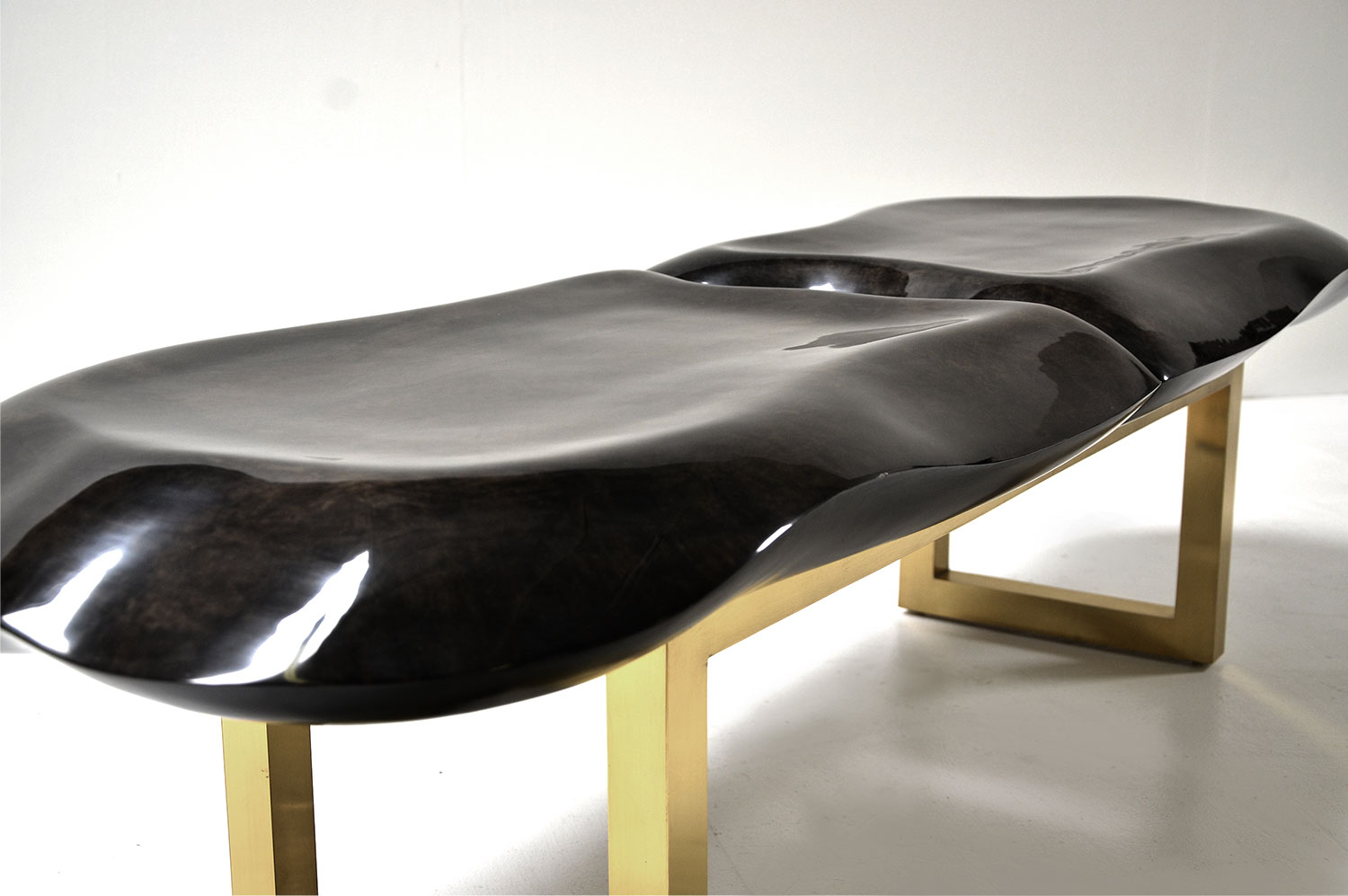 Molded Bench - Goatskin / Brass 3